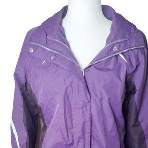 Athletech purple hooded rain coat small zip up